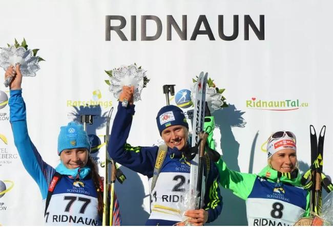 10-12-2016. Кубок IBU по биатлону, Риднаун: призеры женской спринтерской гонки